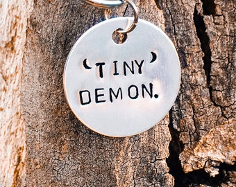 Tiny Demon Funny Custom Dog Collar Tag. New Hand Made Dog Id Tag.