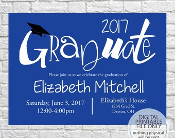 Class of 2018, Printable Graduation Open House Invitation, Graduation Announcement, Fun Grad Invite, Graduation Party, High School, College