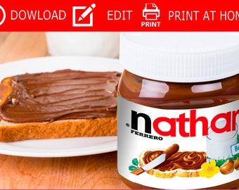 Nutella,nutella  Labels,nutella name,nutella jar,your name,personalised label,personalised nutella,custom label,custom nutella