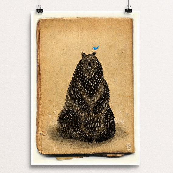 Bear and Bluebird - Signed Print