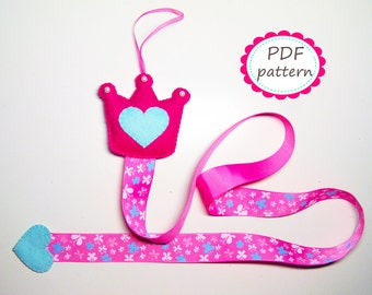 Hair clip holder pattern DIY felt sewing instruction Handmade gift for girl baby shower room decor organizer pdf tutorial Instant Dawnload