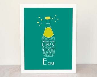 Typography Kitchen Art French Water EAU 8x10 Fine art custom print French Beverages Drinks Turquoise