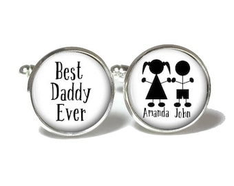 Father's Day Cuff Links | Best Daddy Ever Cufflinks | Gift for Dad | Style 737