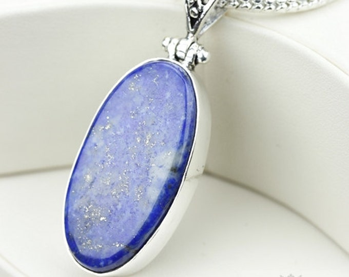 Lapis 925 S0LID Sterling Silver Pendant + 4MM Snake Chain & Free Worldwide Shipping p3657