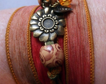 Beautiful  Silk Ribbon Wrap Bracelet With Bronze Flower Charm