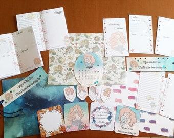 Planner Kit - Ringbound Planner Refill - Traveler's Notebook Inserts - Paperclip - Vellum - Cards - Mermaid - Sea - Seashell - Summer