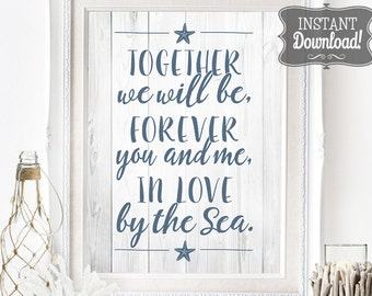 Beach Wedding Poster - INSTANT DOWNLOAD - Wedding Art Sign with 3 sizes included, Sea, Beach, Ocean, Nautical, Wood, Whitewash, Timber,