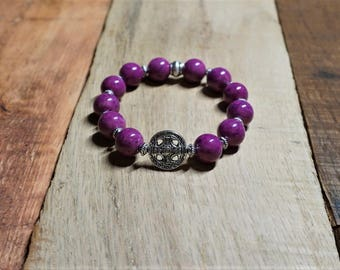 Violet Riverstone 10mm Bracelet with Silver Metals