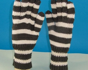 HALF PRICE SALE Instant Digital File Pdf Download Knitting pattern -  Easy Stripe gloves pdf download knitting pattern