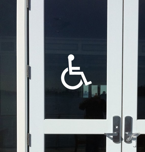 Handicap Accessible - Wheelchair Restroom Door Sign Vinyl Decal Sticker 8  x 7  *Free Shipping* & Handicap Accessible Wheelchair Restroom Door Sign Vinyl