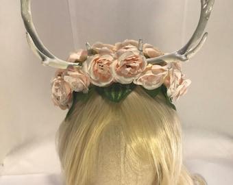 Deer antlers pastel pink forest goddess horned faun festival headdress floral rose fawn woodland elf fantasy antler horn crown