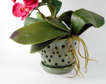 Ceramic orchid pot - orchid cachepot - pottery orchid pot - blue orchid pot - orchid planter V209