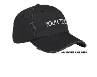 CUSTOM TEXT Distressed Baseball Hat | Black Hat, Custom Embroidered Hat, Custom Hat, Personalized Hat, Unstructured Hat, Dad Hat