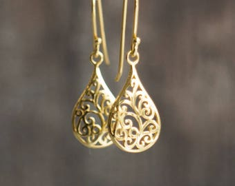 Gold Filigree Tear Drop Earrings
