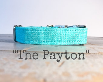 DOG COLLAR, Aqua Linen, Southern Charm, Turquoise, Cute Dog Collars, Preppy Dog Collar