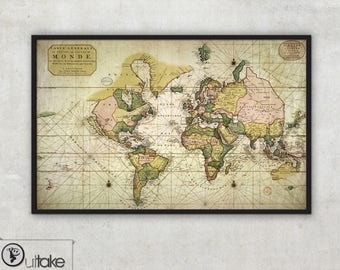 Antique World Map - Antique map - Pierre Mortier 1700s - Map of the World - Historical maps -  Archival Fine Art print - 003