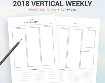 2018 VERTICAL WEEKLY PLANNER, 2018 weekly agenda, Printable planner, week on 2 pages, A5, Half size, A4, Letter, filofax A5
