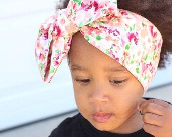 Pink Pearl Floral headwrap, headwrap, fabric head wrap, baby headwrap, toddler headwrap, newborn headwrap, baby headband, floral headwrap