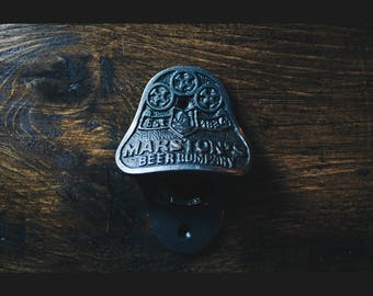 Vintage Style Wall Mounted Bottle Opener in an Antique Iron Finish (Marstons)