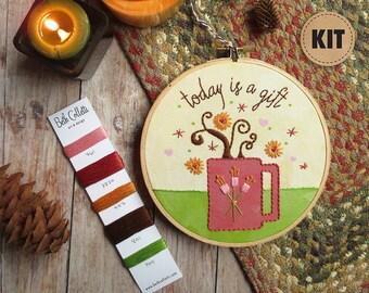 Coffee Art, Embroidery Kit, DIY Gift, Stitch Kit, DIY Crafts, Embroidery Pattern, Hoop Art, Cheerful Kitchen Decor, Gratitude Wall Art