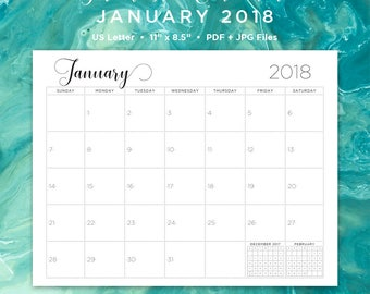 january printable calendar 2018