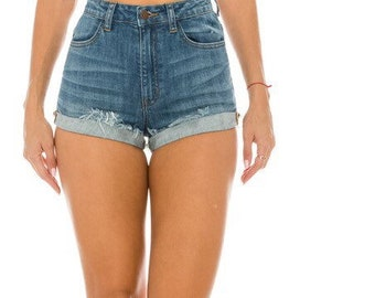 Womens High Waisted Distressed shorts/high waisted shorts/ Cut off Shorts/All Sizes/Shorts/Cuffed shorts/Summer Shorts