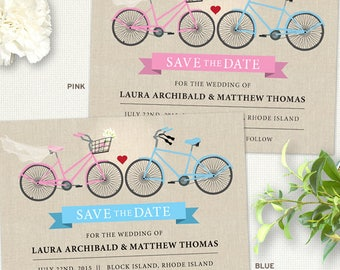 Two Bicycles Wedding Love Save the Date Flat Card or Postcard; Printable, Evite or Printed (US Only) Announcements