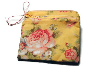Reusable Snack Bags Set of 2 Zipper Yellow Floral