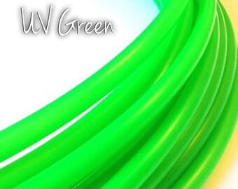 """11/16"""" UV Green Polypro Hula Hoop// Dance Hoop// Performance Hoop//Goldilocks"""