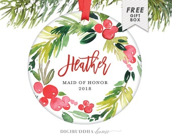 Will You Be My Maid of Honor, Personalized Christmas Ornament Maid of Honor Gift from Bride, Be My Maid Of Honor Gift for Sister Best Gifts