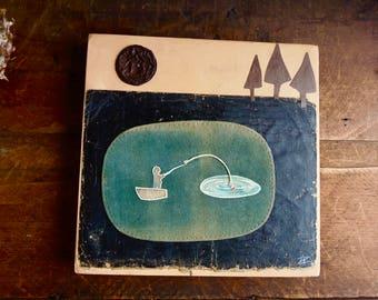Fishing Pond Art, Rustic Mixed Media, Reclaimed Assemblage, cabin Wall Art, camping Painting, man cave, 10 x 10, summer fun, rowboat art