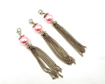 3 Antique Silver Metal Tassels With Pink Glass Pearl Charm/Pendants -22-36-10