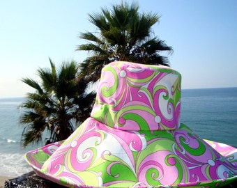 Wide Brim Hat Sun Hat Summer Fashion  pink neon green Pool Hat Vacation Sunhat Freckles California