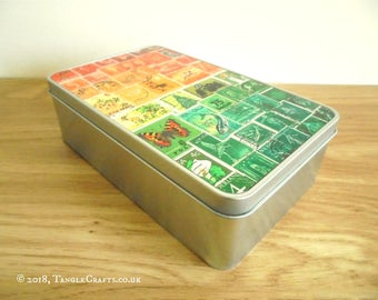 Sunset Gift Tin - Postage Stamp Art Storage Caddy for Stationery etc