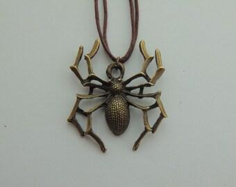 Bronze Spider Pendant Necklace