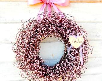 BABY SHOWER Wreath-Pink Berry Wreath-Baby Girls Room-Nursey Decor-Pink Bedroom Decor-Personalized Wreath-Pink Berry Wreath-Nursery Decor