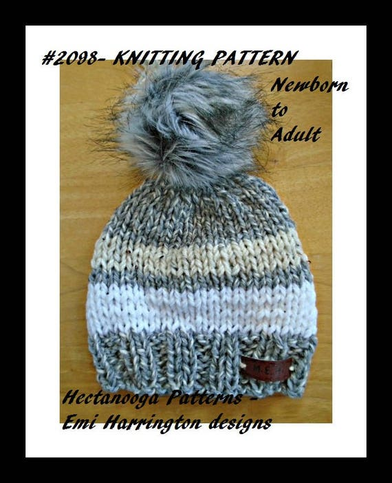 Knit Hat Pattern Newborn To Adult Quick And Easy Beginner