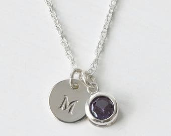 June Birthstone Initial Necklace Sterling Silver / Personalized Birthstone Jewelry / Sterling Silver Initial Necklace Birthstone for June