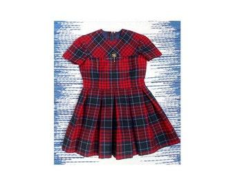 MOD 1960s Girls Size 6 Dress / 1960s plaid One Piece Dress  / Plaid Cotton, Full Skirt,