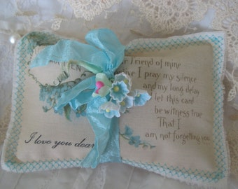 Dearest Friend Heartfelt Lavender Gift Sachet, FREE USA Shipping, Embroidered VINTAGE Blue Forget Me Not Postcard, Mother's Day, Friend Gift