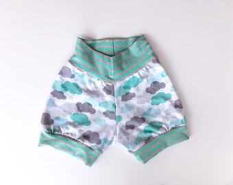Shorts- Teal and Gray Clouds