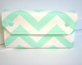 Cash Envelope Wallet  / Dave Ramsey System / Zipper Envelopes  Budget Wallet - Mint Green Chevron