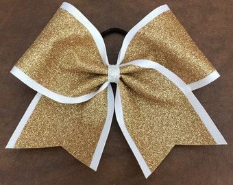 Cheer Bow - gold glitter on white