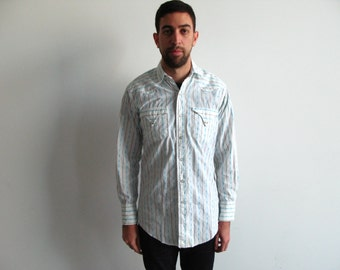 mens tem-tex shirt - vintage 60s 70s striped geometric white blue pearl snap extra long tails long sleeve collared western unisex top medium