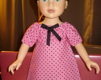 Peasant dress in pink and black dot print for 18 inch Dolls - ag85