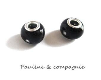 2 black lampwork glass and rhinestone beads