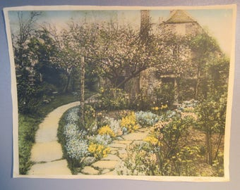 Wallace Nutting Large Hand Colored Print Pencil Signed Nethercote English Cottage