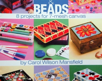 Boxes With Buttons & Beads 8 Projects By Carol Wilson Mansfield Plastic Canvas Pattern Booklet 2005