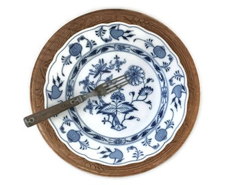 Antique Meissen Blue Onion Plate German Porcelain Blue Crossed Swords Mark