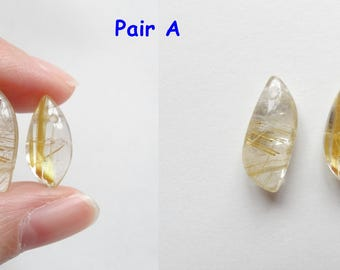 Gold Rutilated Quartz Freeform Asymmetrical Drops with drilled hole One Pair Perfect for earrings J7419